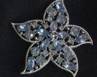 "Vintage Silver-tone ""Starfire"" Brooch Aqua Blue Chaton & Navette Rhinestones SARAH COVENTRY"