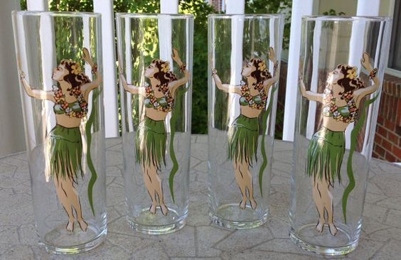 Set of Vintage #Hula Girl Tall Liquor or Ice Tea glasses #luau