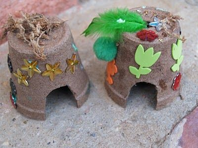 decorated peat pots for kids to make into tiny fairy houses