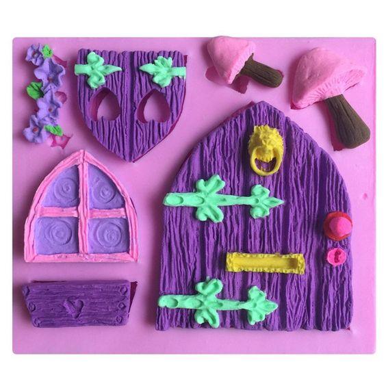 FLY Fai da te attrezzo della torta 3D porta finestra in legno a forma di cottura del silicone Strumenti,rosa: Amazon.it: Casa e cucina