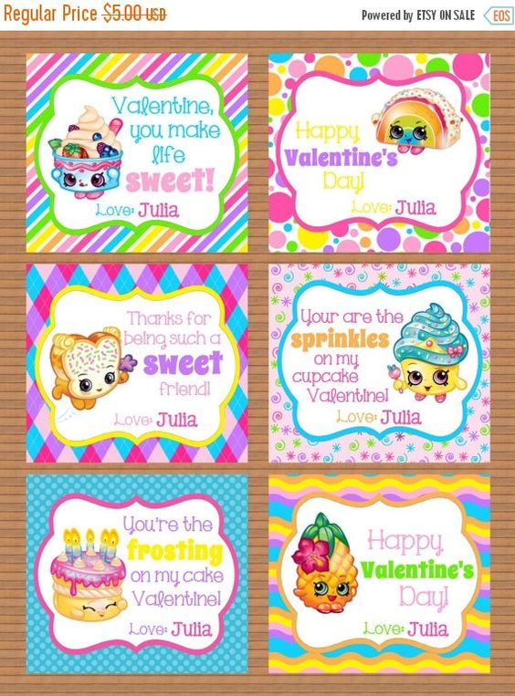 ON SALE Personalized Shopkins Girls Valentine Class by susanefird – Class Valentine Cards