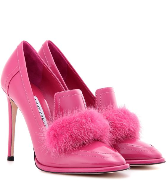 mytheresa.com - Lyza 110 fur-trimmed patent leather pumps - Luxury Fashion for Women / Designer clothing, shoes, bags