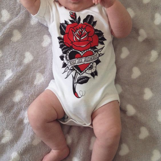 Baby bodysuit with old school tattoo print