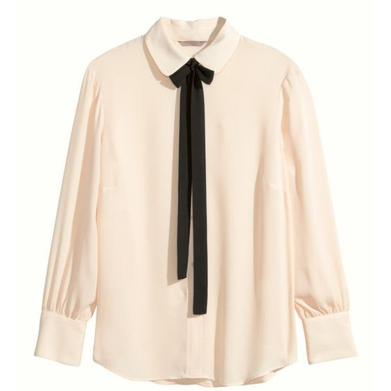 H&M+ Blouse with a tie ($36) ❤ liked on Polyvore featuring tops, blouses, shirts, long sleeves, plus size, light beige, pink long sleeve shirt, plus size tops, beige long sleeve shirt and plus size long sleeve shirts