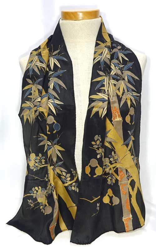 Vintage Japanese Black Silk Scarf With Golden Bamboo