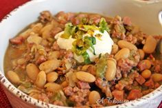 White Bean and Sausage Chile with Hatch Chiles @The Hatch Chile Store