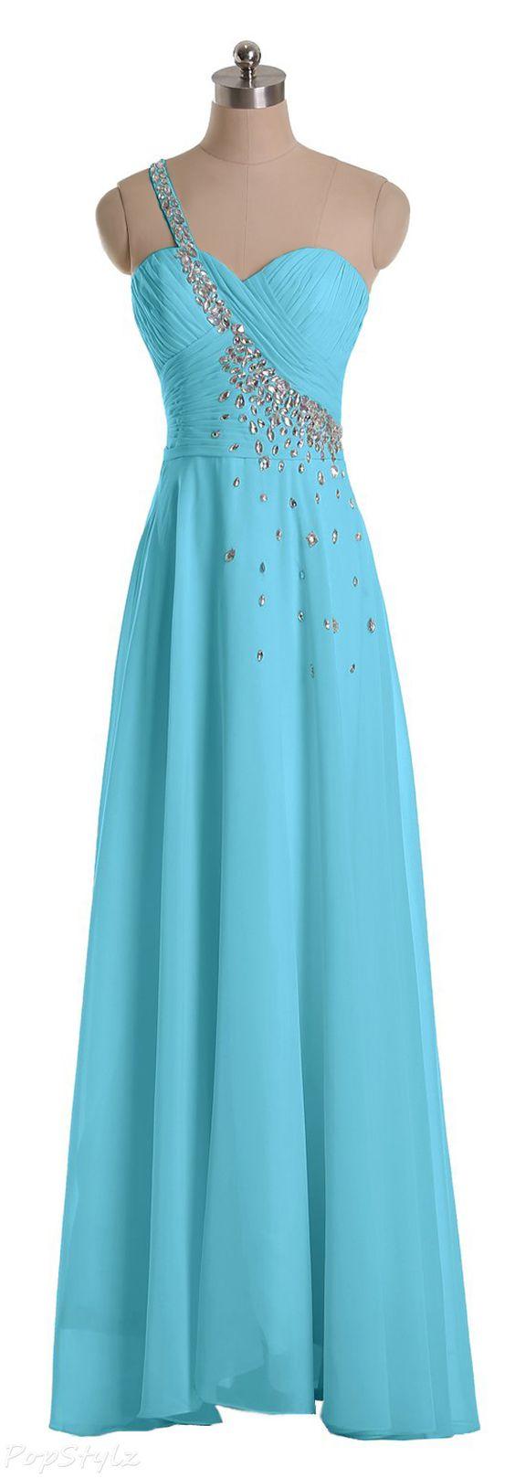 Sunvary 2015 Rhinestone One Shoulder Formal Dress