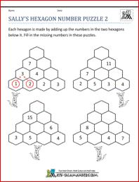 math worksheet : sally s hexagon number puzzle 2 a number puzzle worksheet for  : Free Math Puzzle Worksheets