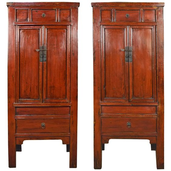 Pair of 19th Century Chinese Red Lacquer Cabinets | From a unique collection of antique and modern cabinets at https://www.1stdibs.com/furniture/storage-case-pieces/cabinets/