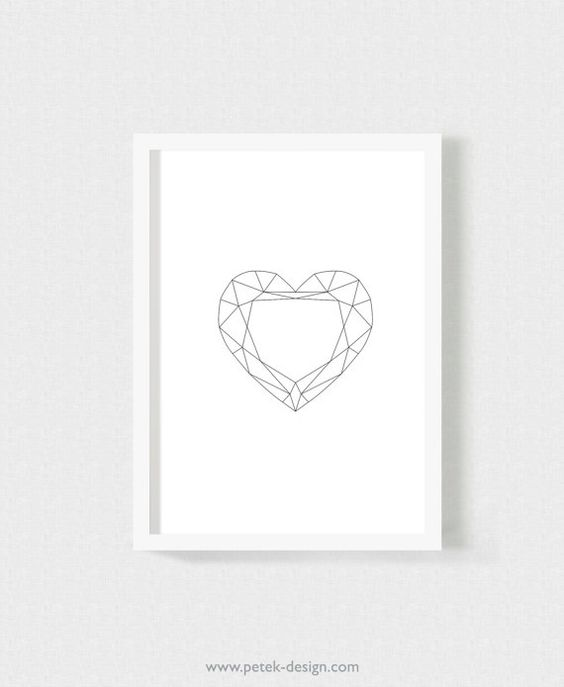 PRINTABLE Geometric Hearts Posters Set of 3 / A4 by petekdesign