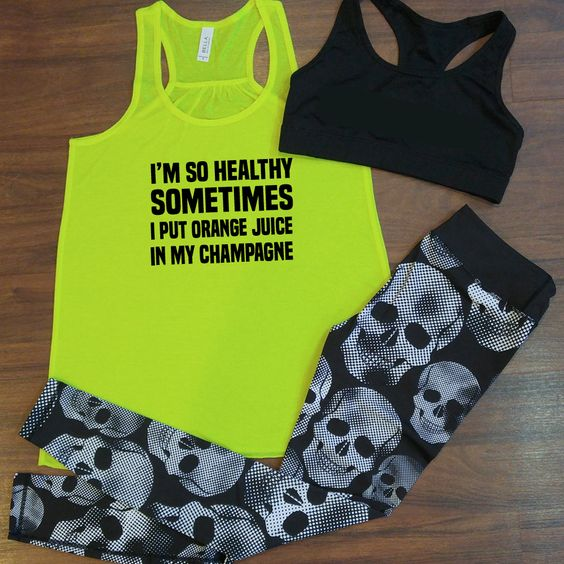 Funny workout outfit from Constantly Varied Gear. Funny gym tank and skull leggings. | Pinterest ...