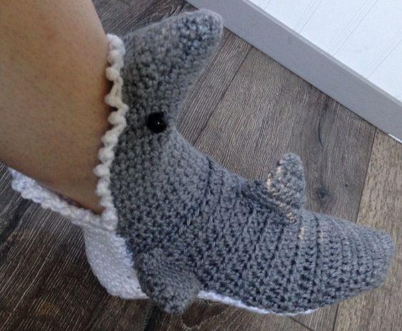 Knitted Shark Socks Pattern : MENS Crochet Shark Slipper Socks FREE SHIPPING by PinkPoppyShoppe Knitting ...
