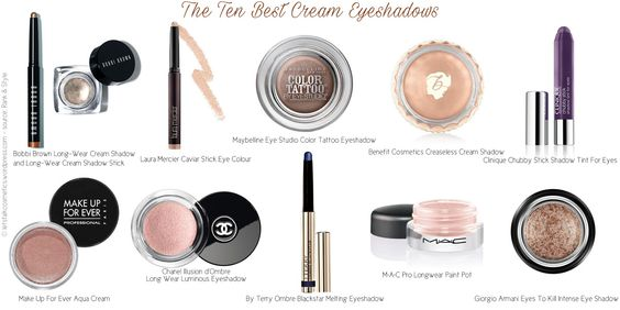 The Ten Best Cream Eyeshadows (Rank & Style top 10 list)