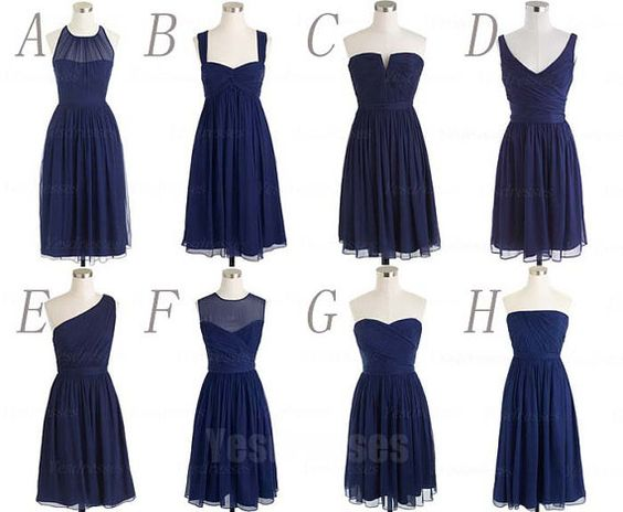 Navy blue bridesmaid dresses short bridesmaid dresses mismatched ...