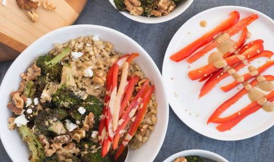 Roasted vegetables topped with a versatile creamy tahini dressing make these bow... - Oat and Sesame