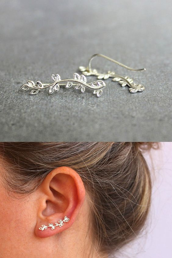 Silver ear crawler, Sterling silver ear cuff, nature jewelry, ear climber. on Etsy, 87.54 ₪