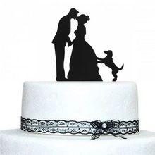 La novia y el novio con perro de mascota CakeTopper acrílico silueta boda CakeTopper Wedding Cake decoración(China (Mainland))