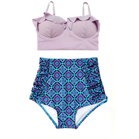 Lavender Violet Midkini Top and Paisley Shorts Bottom Swimsuit... ($40) ❤ liked on Polyvore featuring swimwear, bikinis, bathing suits, black, women's clothing, swimsuits bikinis, retro swimsuit, high waisted swimsuit, high waisted swim suit and retro bikini