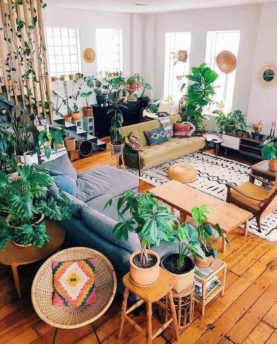 6 Essential Steps To Decorate A Boho Chic Home Living Room Plants Hippie Home Decor Living Room Decor