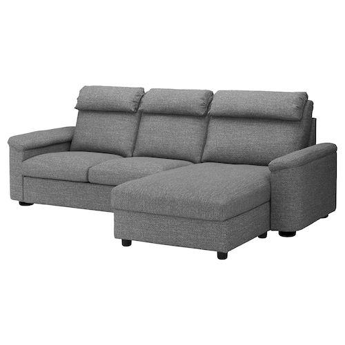 Lidhult Sofa With Chaise Lejde Gray Black Canape Haut Dossier