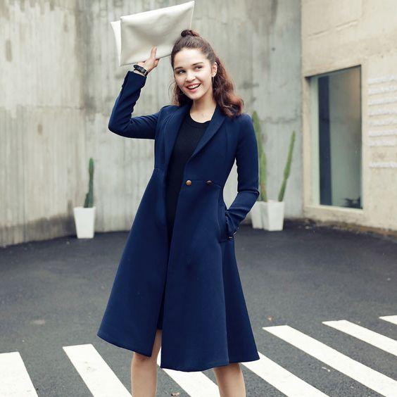 New Fashion Trench Coat For Women Slim Long Style Full Sleeve Autumn Coat Women