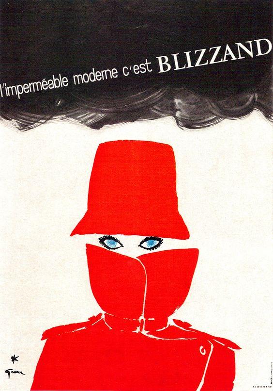 René Gruau Illustration: Poster for a lady's raincoat.
