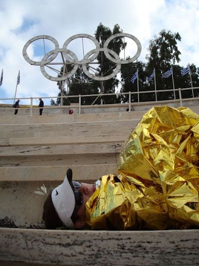 Olympic Stadium after running the marathon in Greece ... A marathon. IN ANOTHER COUNTRY!