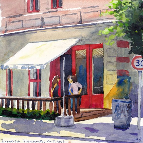 Last week I went to meet an old friend at a wine bar, and because I also wanted to paint a bit that day I showed up an hour early. There was a…