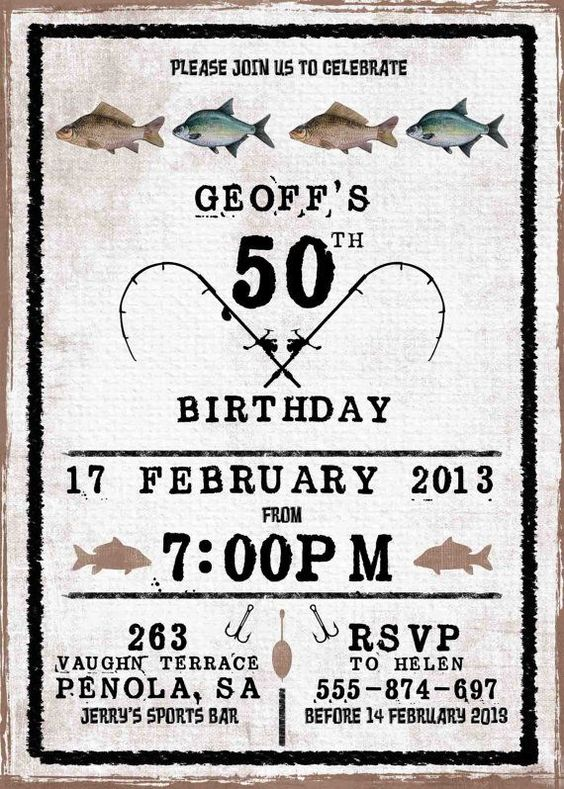 50th birthday invitations wedding dj and corporate events for Fishing birthday invitations