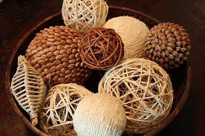 DIY Decorative Balls.  These things are expensive - this is a good project for when you're mindlessly watching tv & only halfway have to pay attention!
