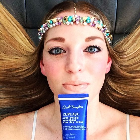"""Hannah's frizz-free hair? Her stunning headpiece? Our anti-frizz smoothing blow dry cream? This photo is GORG! See what Hannah @Christina Schroeter Pieces (one of our trendsetters) had to say about it --> """"Gotta make sure my hair's frizz-free when I wear my Fati headpiece (nineteenpieces.com $84). Only product I use to get the job done is Carol's Daughter's Cupuaçu Anti-Frizz Collection!"""""""