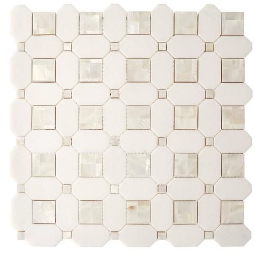 Thassos Mother Of Pearl Basket Weave Marble Mosaic Marble Mosaic