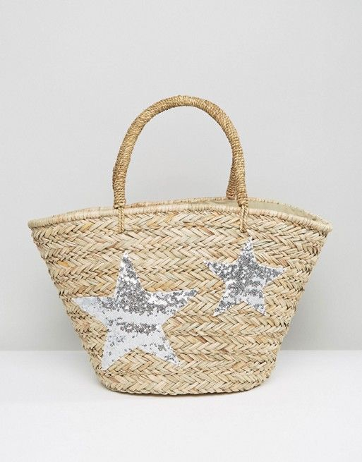 Chateau Silver Star Woven Beach Bag: