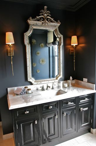 Elegant Bathroom With Black Walls Paint Color Silver