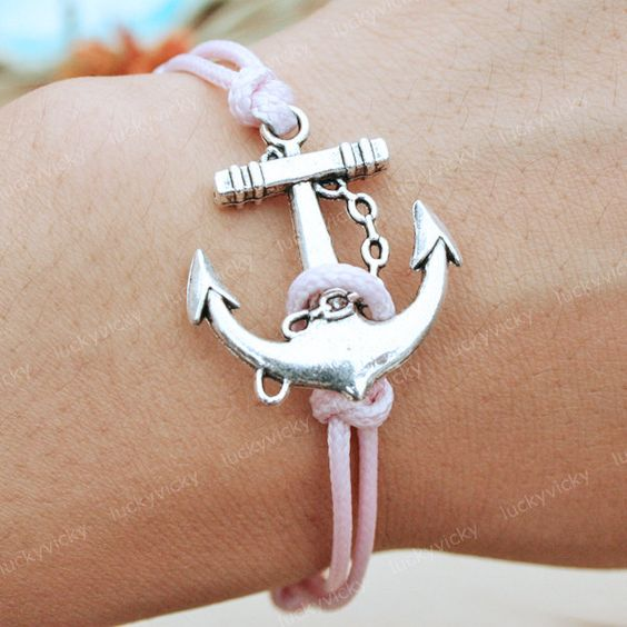 Bracelet-Anchor bracelet-vintage anchor bracelet-Vintage pink string bracelet. $4.99, via Etsy.