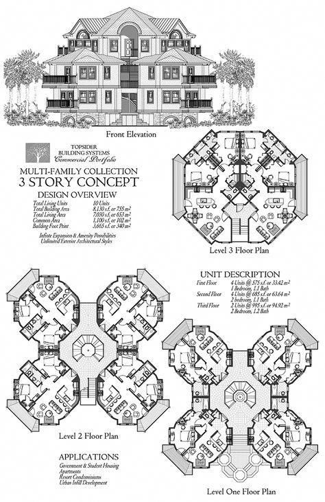 Commercial Collection Comm Multi Family Residence 3 Story 10 Units Floor Plan 8130 Sq Ft Bedr Mansion Floor Plan Hotel Floor Plan Architectural Floor Plans