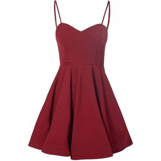 Burgundy Full Skirt Dress (£32) ❤ liked on Polyvore featuring dresses, vestidos, short dresses, red, burgundy, burgundy cocktail dress, red party dresses, vintage style dresses, party dresses and mini party dresses