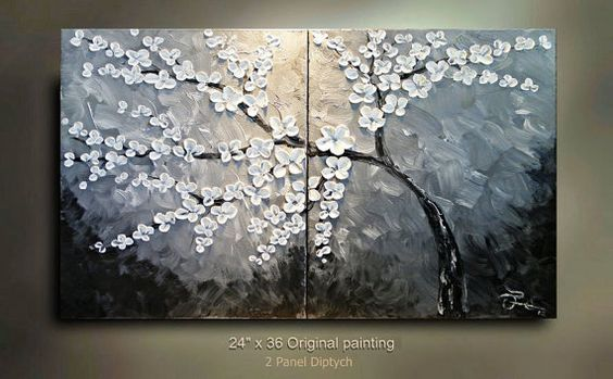 ORIGINAL 2 canvases diptych tree white Flowers by tjenkinsarts, $265.00