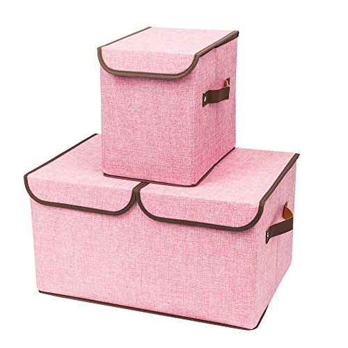 Mallmall Portable Foldable 2 Cloth Storage Box With Lids Storage Bins Ornaments Toy Collection Containers Ba Fabric Storage Boxes Covered Boxes Storage Boxes