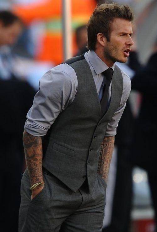 David Beckham wearing Charcoal Waistcoat, Grey Dress Shirt ...