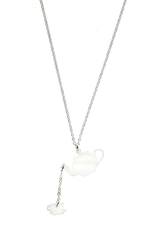 Tea For One Necklace in Pearl White