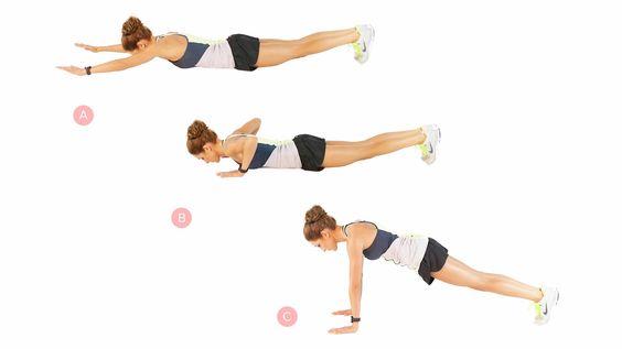 Lay-down push-ups x 15 | Kayla Itsines' 28-Minute Total-Body Workout: