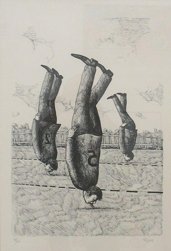 Roland Topor (1938-1997) - Marathon on the head (Marathon sur la tête), N/D Anne-Marie et Roland Pallade Gallery, Lyon, France