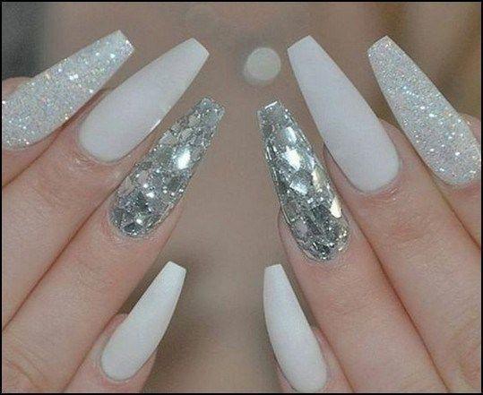 Cutenails Info Nails Design With Rhinestones White And Silver Nails Rhinestone Nails