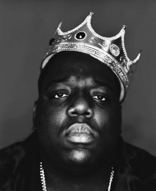 Biggie Smalls (The Notorious B.I.G.). Biggie's most iconic, and last portrait, by photographer Barron Claiborne.