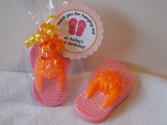 10 FLIP FLOP Soap Favors With Tags & Ribbons  by MystiqueBubbles