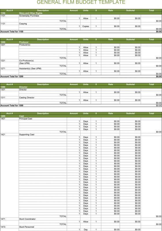 Film Budget Template Budget Template Business Budget Template
