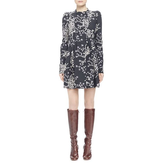 Chloe Bouquet-Print Button-Front Dress (11830525 PYG) ❤ liked on Polyvore featuring dresses, asymmetrical long dress, pleated a line dress, long dresses, long a line dress and asymmetrical dress