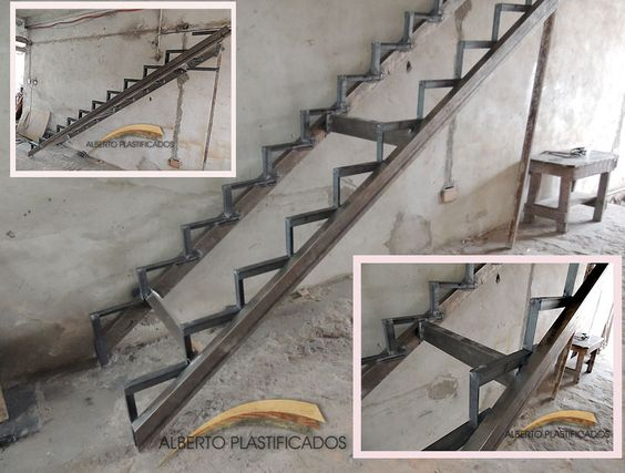 Creaci n de estructura de metal para escalera que luego for Escaleras de metal