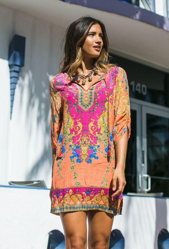 Tolani Chloe tunic in coral: